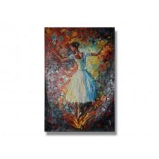 ภาพเขียนสีน้ำมัน ผู้หญิงเต้นบัลเล่ต์ ขนาด 24x36 นิ้ว