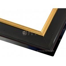 กรอบรูปไม้จริง สีดำ/ทอง ขนาด 2 นิ้ว